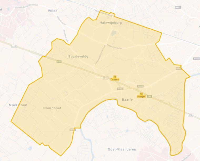 Kaart enquêtegebied Baarle
